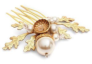 Petworth Gold Acorn And Pearl Hair Comb - hats, hairpieces & hair clips