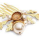 Petworth Gold Acorn And Pearl Hair Comb
