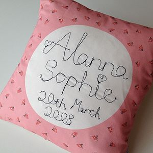 Girl's New Baby Personalised Name Cushion - embroidered & beaded cushions