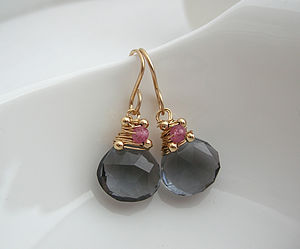 Navy Teal Quartz Gemstone Earring - earrings