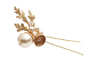 Petworth Gold Acorn And Pearl Hair Pin - hair accessories