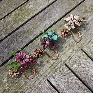 Leather Blossom Copper Spiral Scarf Pin - pins & brooches