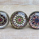 Set Of Three Mosaic Brass And Glass Knobs
