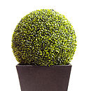 Artificial boxwood ball in black granite planter