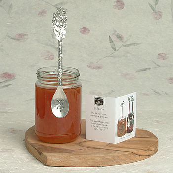 Personalised Hand Stamped Oak Leaf Jam Jar Spoon