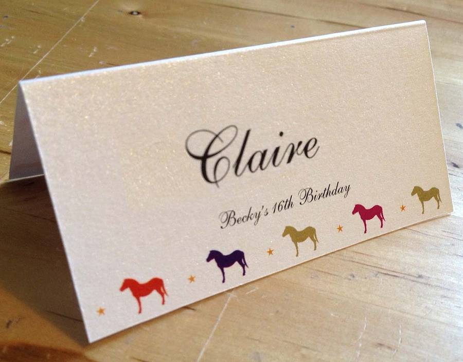 horse  pony party invitation  place card by the wild partridge, Party invitations