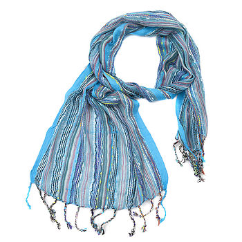 Turquoise Ladies Woven Scarf