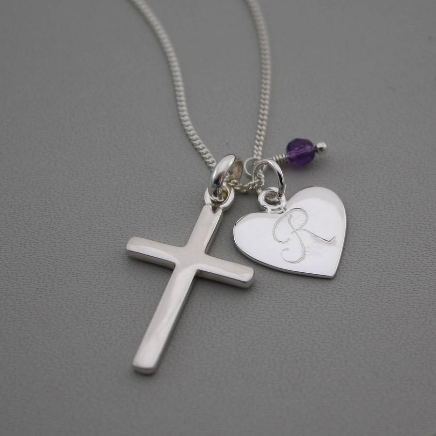 silver cross birthstone personalised necklace by claudette. Black Bedroom Furniture Sets. Home Design Ideas