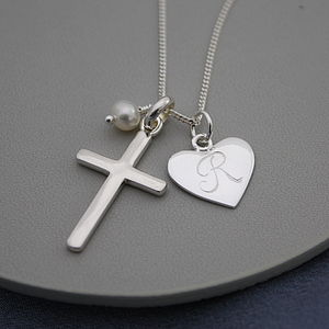 Silver Cross Birthstone Personalised Necklace - christening jewellery