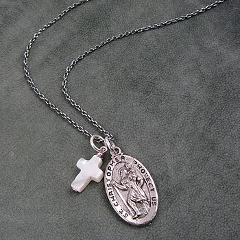 St Christopher and Cross Necklace Silver