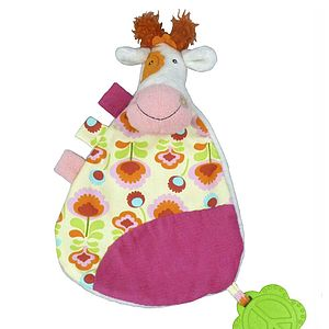 'Anemone The Cow' Comforter With Teether - blankets, comforters & throws