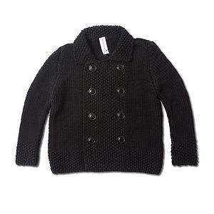 Hand Knitted Peacoat - coats & jackets