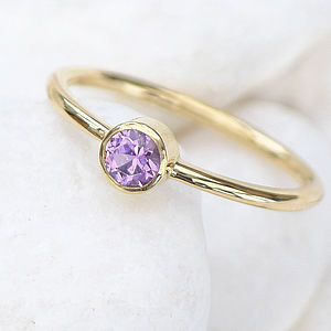 Purple Sapphire Ring In 18ct Yellow Gold - women's jewellery