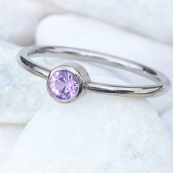 Purple Sapphire Ring In 18ct White Gold