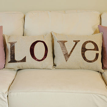 Pair Of Linen LOVE Cushions