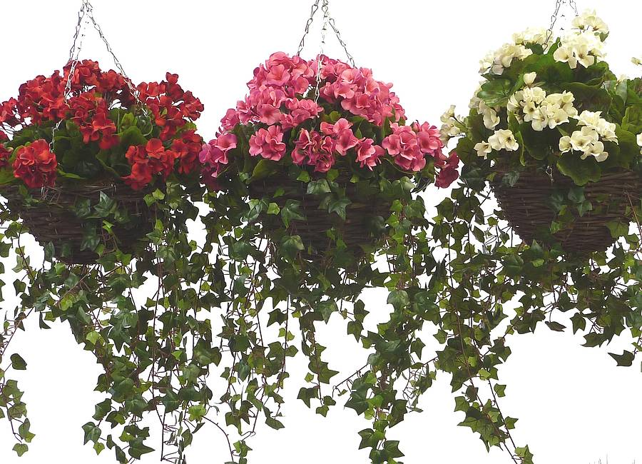 Artificial geranium hanging basket by artificial for Geranium artificiel jardiniere