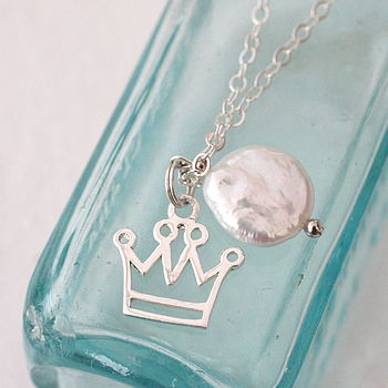 Crown And Pearl Sterling Silver Necklace