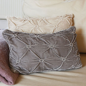 Ruched Velvet Cushion