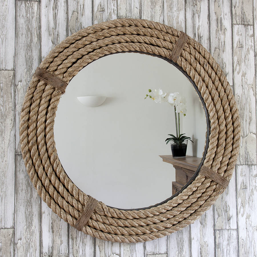 Twisted rope round mirror by decorative mirrors online for Pared con espejos redondos