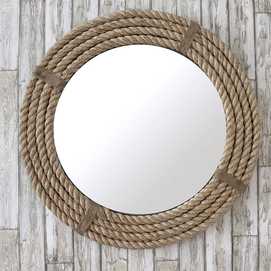 Twisted rope round mirror by decorative mirrors online for Circle mirror
