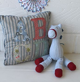 Vintage Style Fabric ABC Baby Cushion