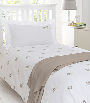 Owls Embroidered Bedding Natural
