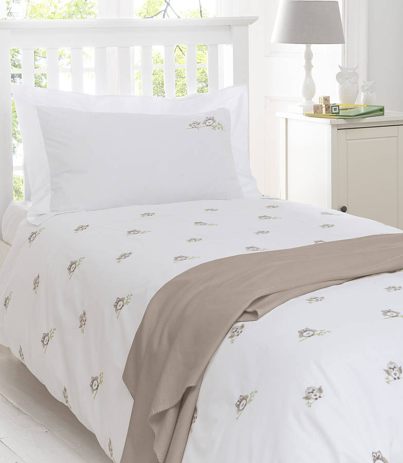 Owls Embroidered Bedding Natural By The Fine Cotton