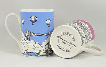 Bristol Bone China Mug 'Clifton Balloons'