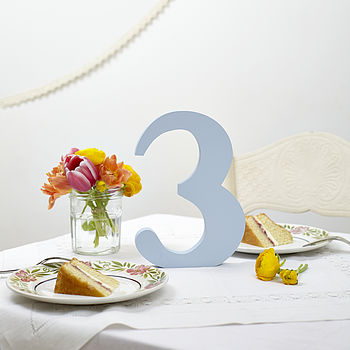 Pastel Blue Wedding Table Number