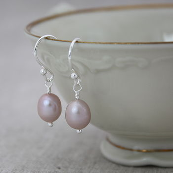 Pearl Drop Earrings In Pale Pink