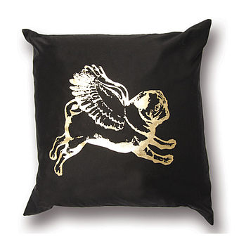 Flying Pug Metallic Cushion Cover Gold