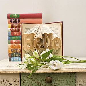 'Hello' Folded Book Decoration - sculptures