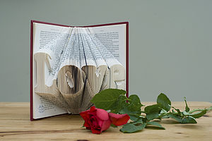 'Love' Folded Book Decoration - room decorations