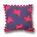 Thumb pug cushion pink and purple with pompoms