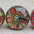Set Of Three 'Bahia' Brass And Glass Knobs