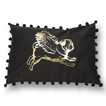 Flying Pug Rectangular Pompom Cushion Gold