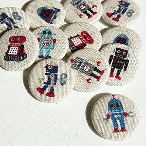 Robot Fabric Badge Set - pins & brooches