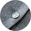 Grey wool back and vintage silver crown uniform button