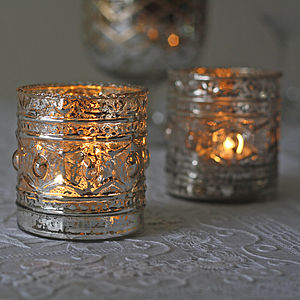 Ornate Antique Silver Tea Light Holder - christmas home accessories