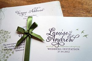Country Design Wedding Stationery Range - invitations