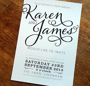 Bold Text Wedding Stationery Range - table decorations