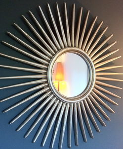 Antique Silver Starburst Wall Mirror - bedroom