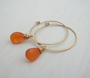 Clementine Carnelian Hoops - earrings