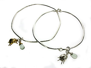 Silver Ladybird Gemstone Bangle - women's jewellery
