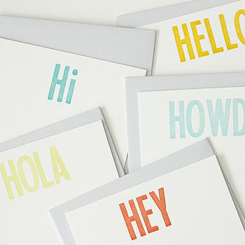 Hello Letterpress Stationery Set