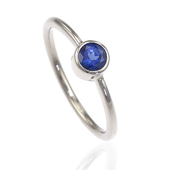 Blue Sapphire Engagement Ring In 18ct Gold