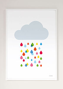 Multicoloured Rain Cloud Print - canvas prints & art for children