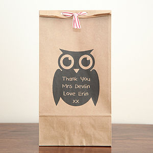 Personalised Thank You Owl Gift Bag - ribbon & wrap