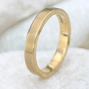 3mm Matte Finish Wedding Ring In 18ct Gold - gold