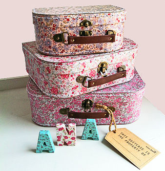 Set Of Three Vintage Floral Storage Cases